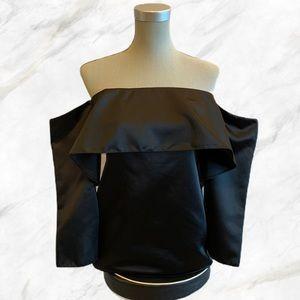 Zara | Cold-Shoulder Silky Black Long Sleeve Top